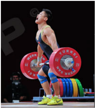 "The all important ""mid-thigh"" position as the lifter leaves 2 heading to position 1... *Image belongs to Hookgrip (www.hookgrip.com)"